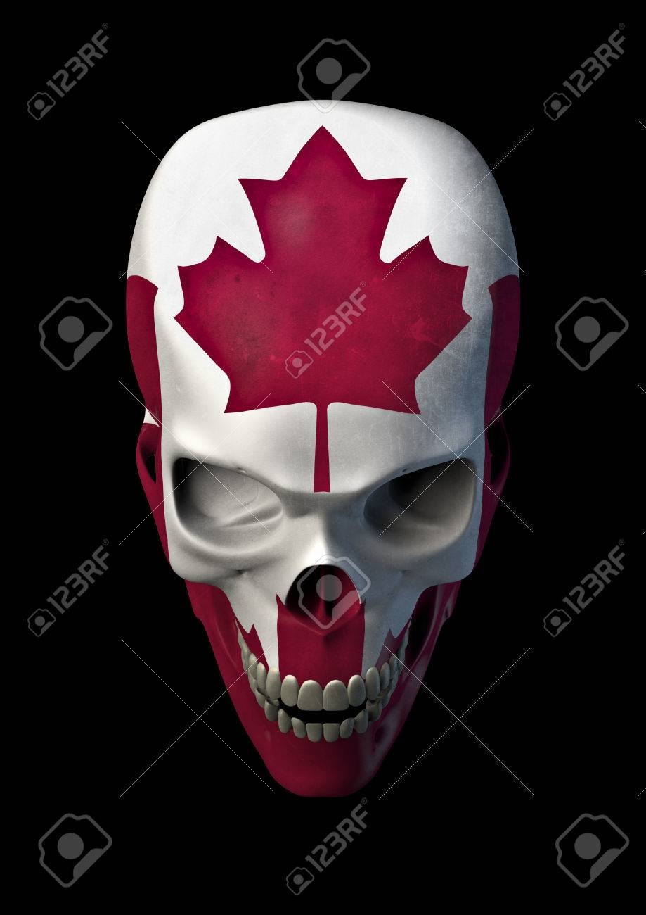 Canadian horror 3d render of skull decorated with canadian flag stock photo 44445036