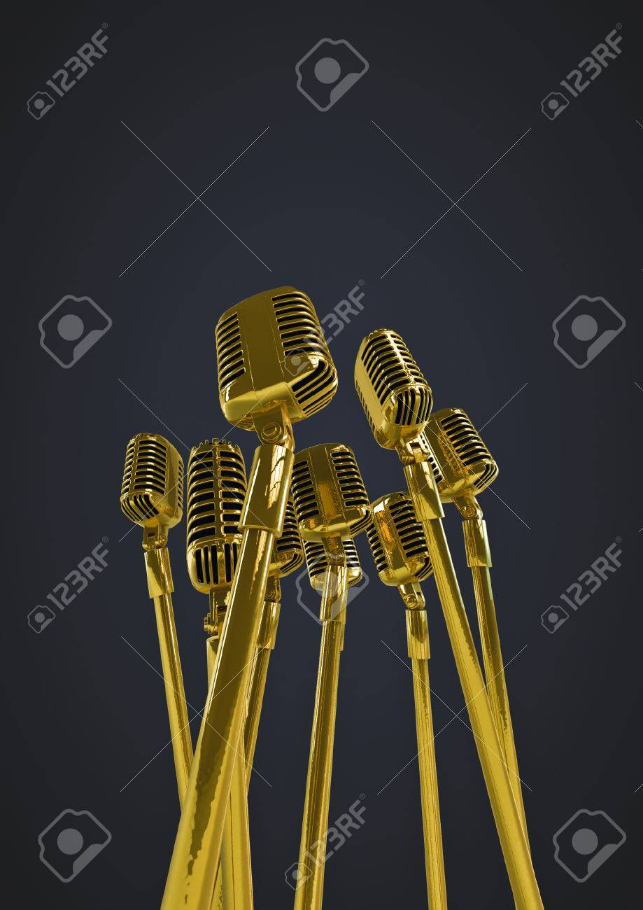 retro gold microphones 3d render of group of old fashioned classic
