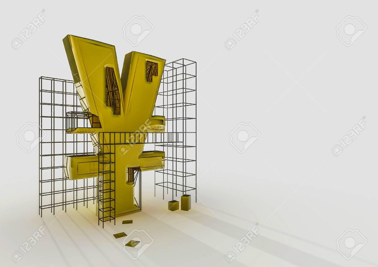 Building The Yen 3D Render Of Yen Symbol And Construction Frames ...