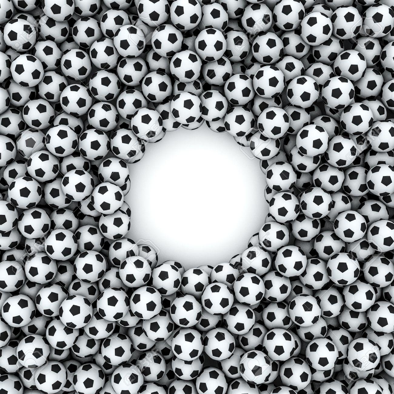 Soccer balls frame 3d render of hundreds of soccer balls framing soccer balls frame 3d render of hundreds of soccer balls framing copy space stock photo jeuxipadfo Images