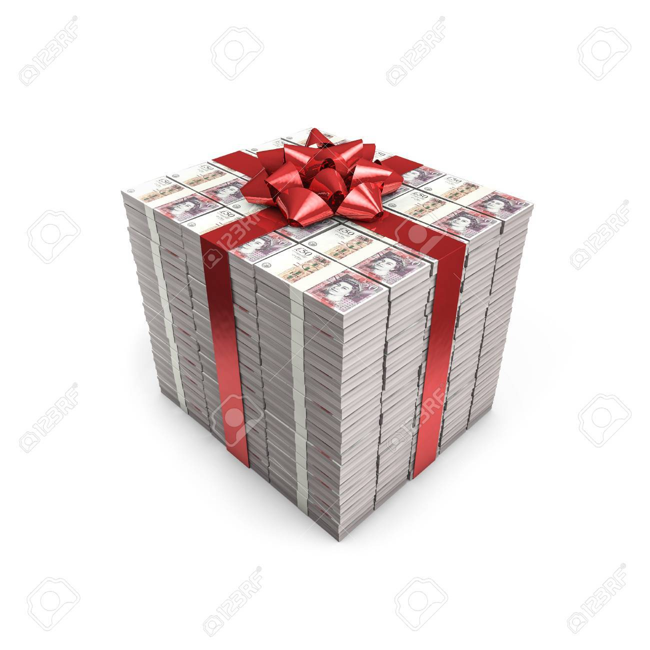 Geldgeschenk Pfund 3d Darstellung Von Stapeln Von Funfzig Pfund