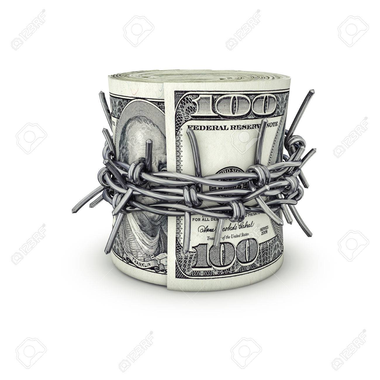 Forbidden Money Dollars / 3D Illustration Of Rolled Up Hundred ...
