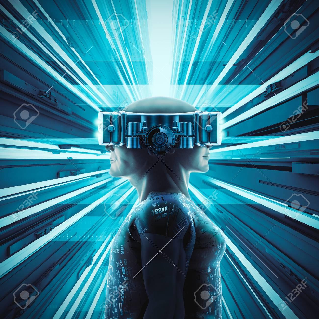 Virtuelle Realität Zwillinge / 3D Abbildung Der Männlichen Und ...