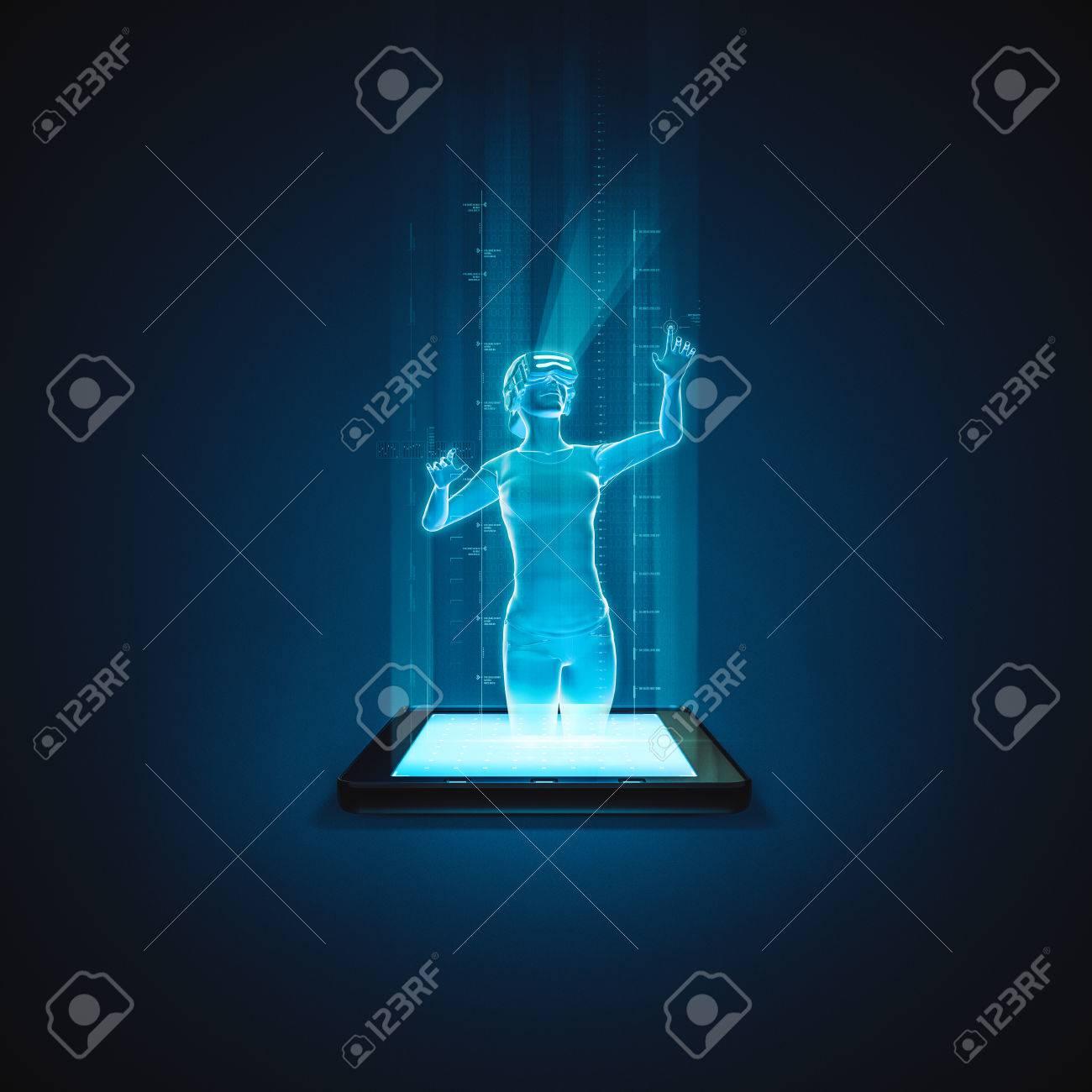 Virtual Realität Tablette Frau / 3D Abbildung Der Holographischen ...