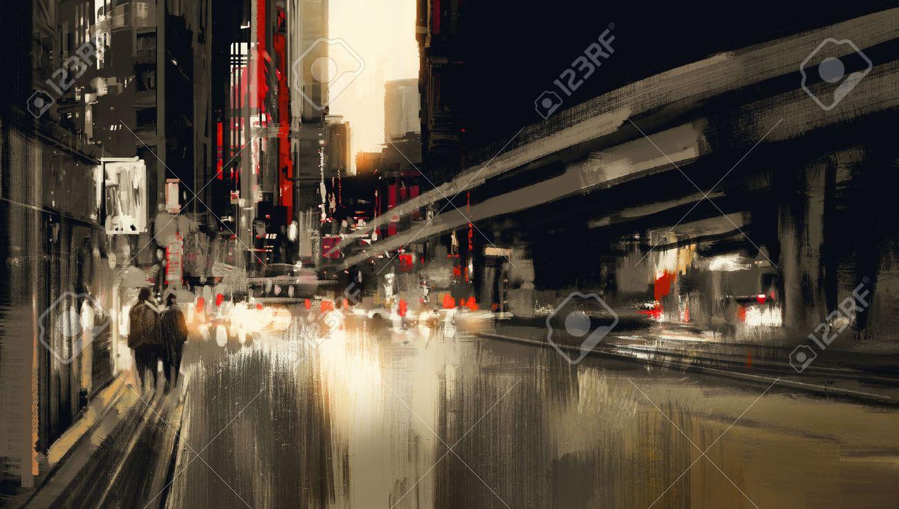city street digital painting.illustration Stock Photo - 41959121