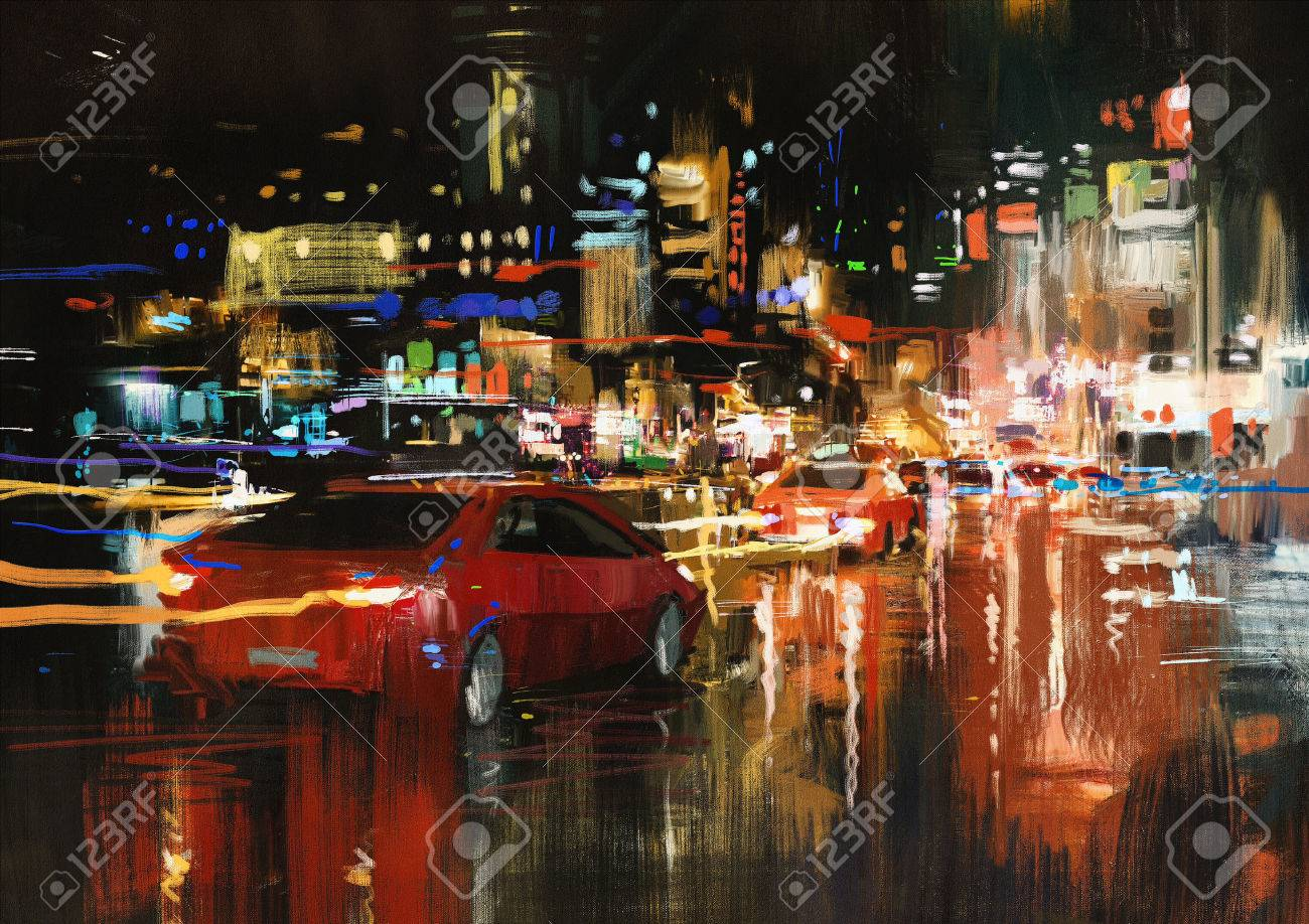 digital painting of city street at night with colorful lights. Stock Photo - 42280498