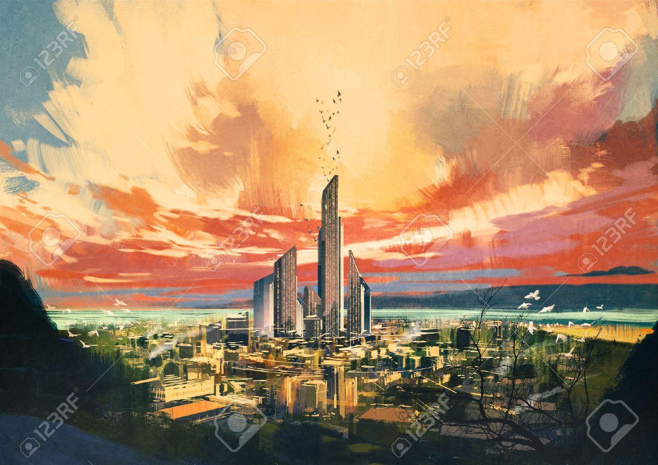 digital painting of futuristic sci-fi city with skyscraper at sunset ,illustration Stock Illustration - 42280502