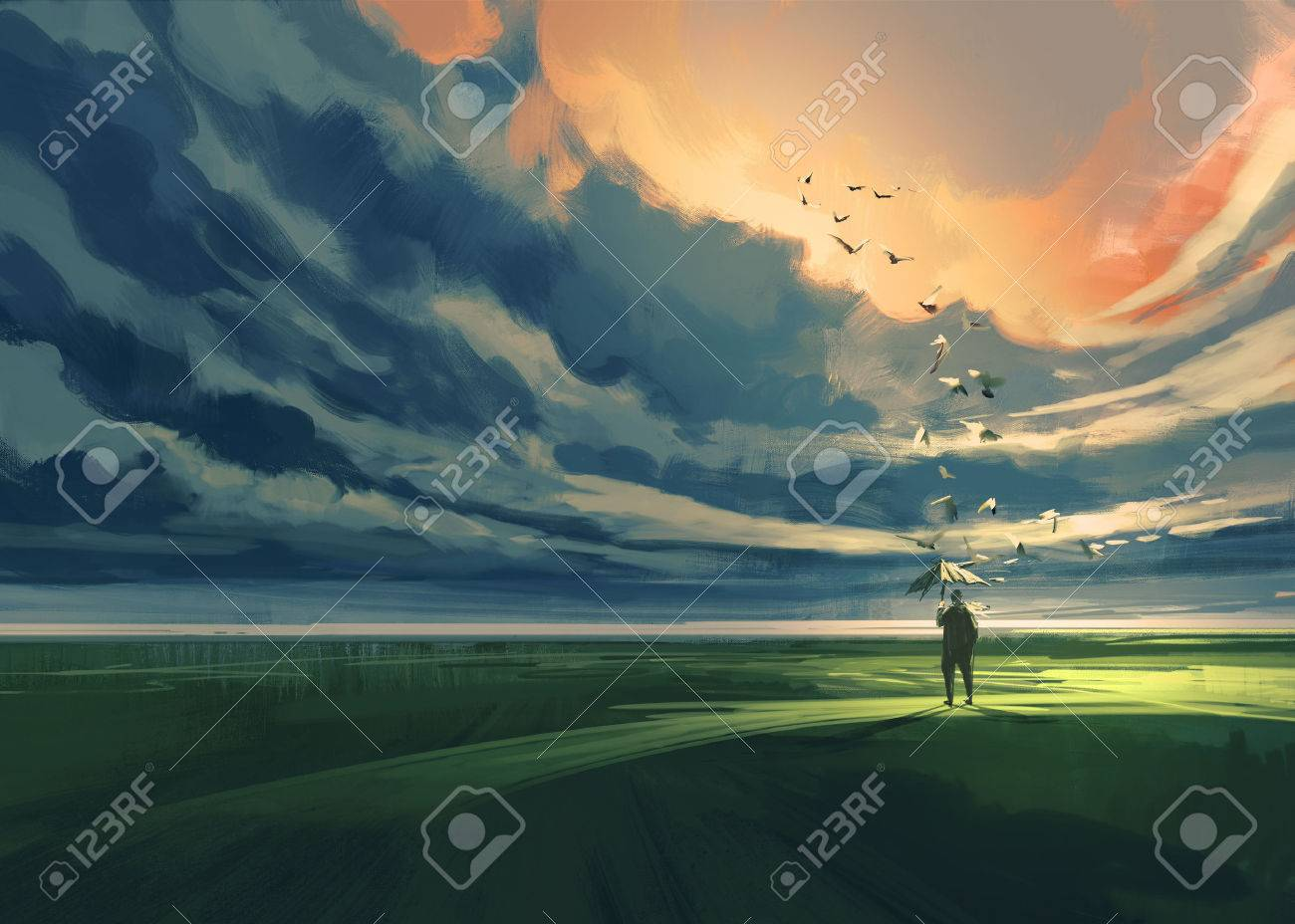 painting of man holding an umbrella standing alone in the meadow watching at the cloudy horizon Stock Photo - 42280504
