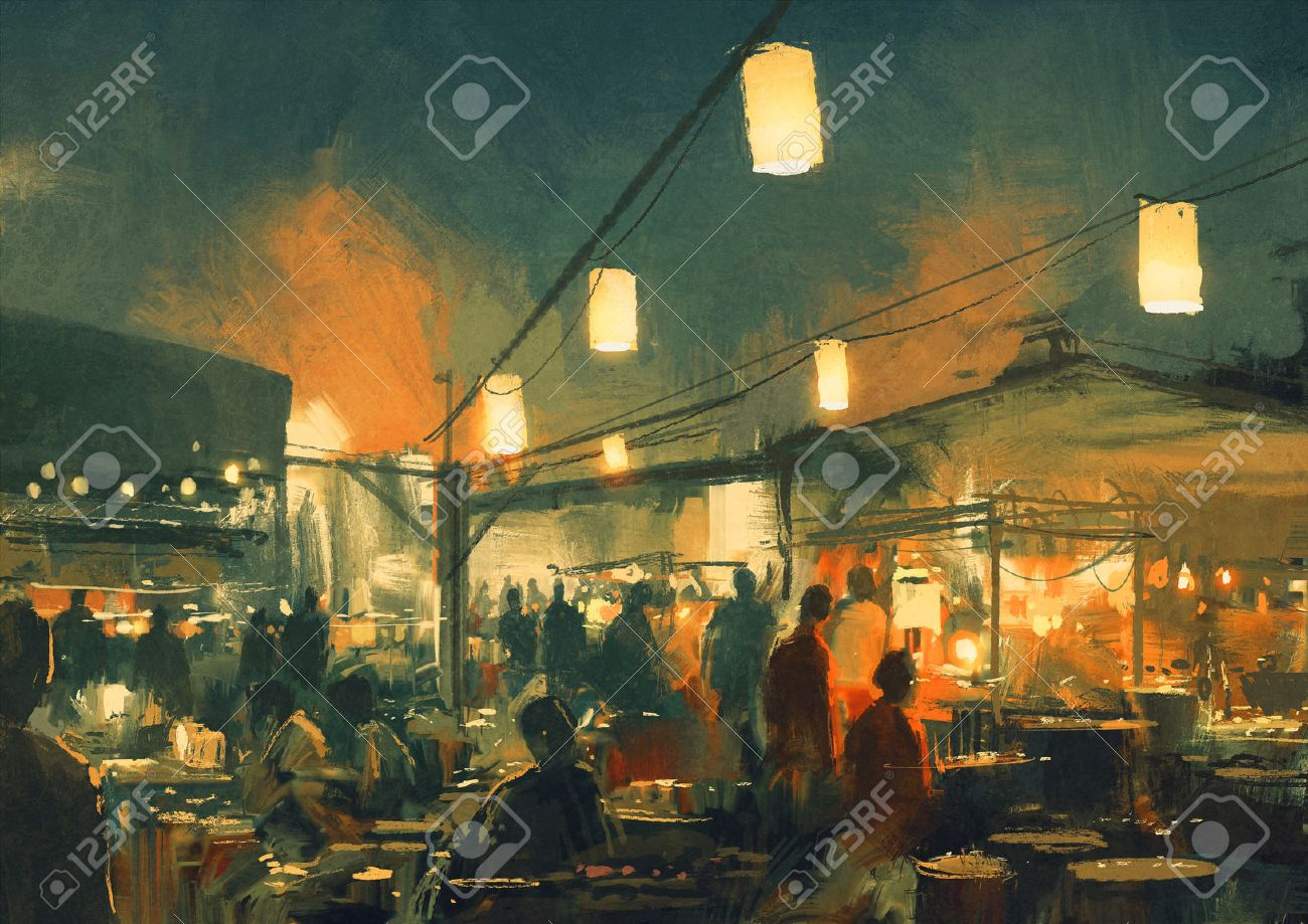 crowd of people walking in the market at night,digital painting Stock Photo - 42280515