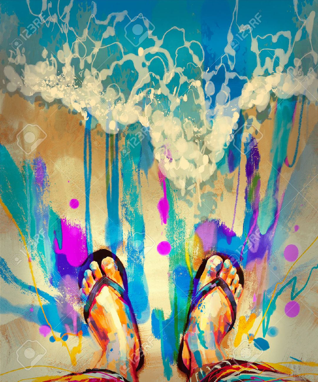 painting of colorful feet with flip-flops on sandy beach Stock Photo - 42293102