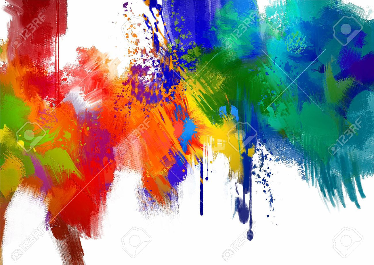 abstract colorful paint stroke on white background digital painting