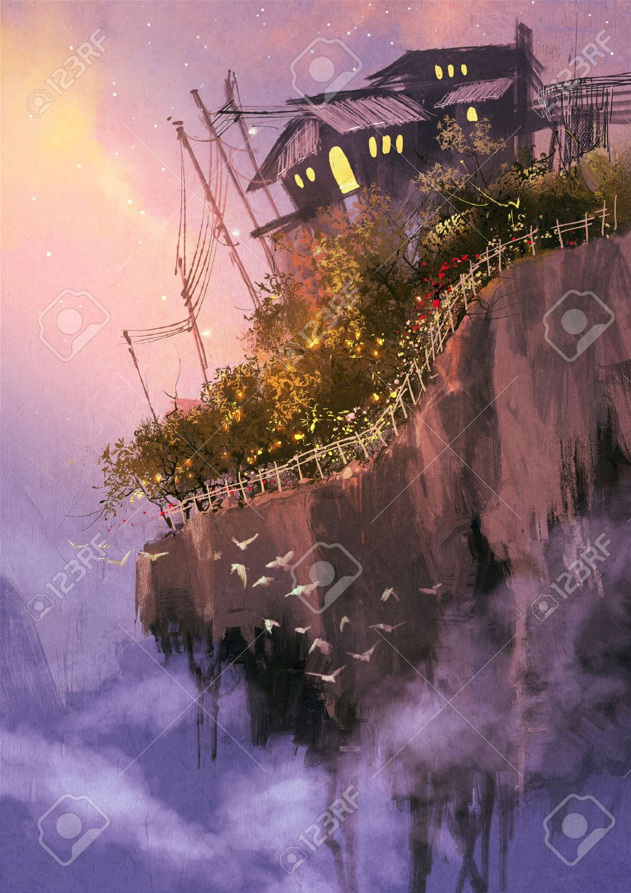fantasy scenery with floating islands in the sky,digital painting Stock Photo - 42293111