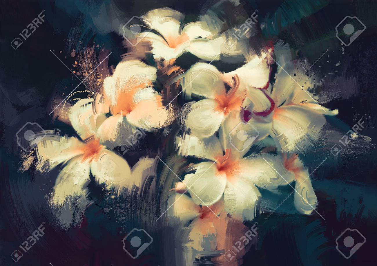 Painting Showing Beautiful White Flowers In Dark Background Stock