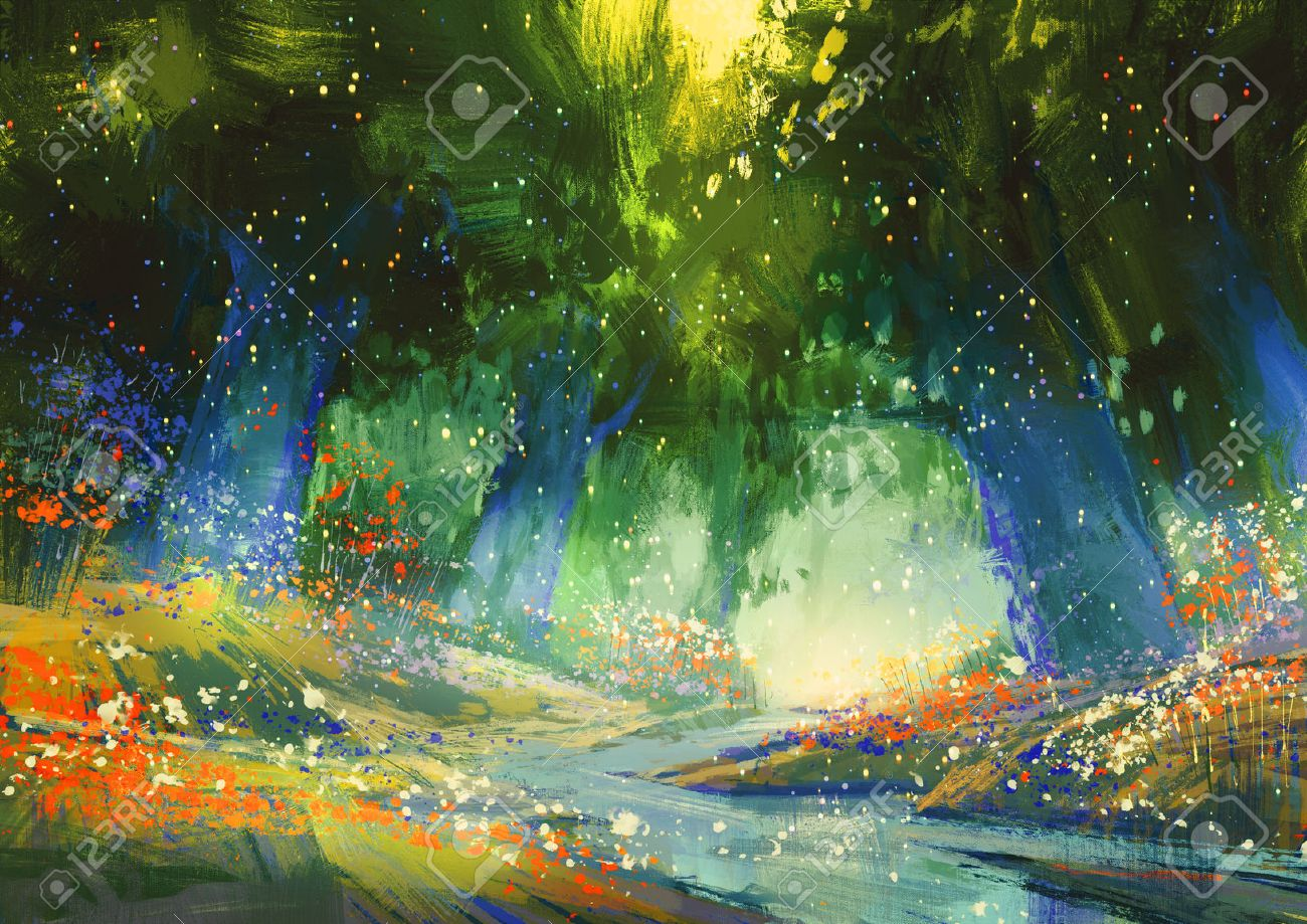 mystic blue and green forest with a fantasy atmosphere,illustration painting Stock Illustration - 42293119