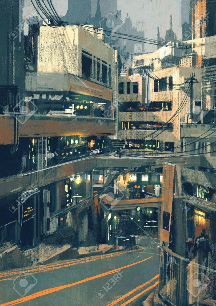 近未来的な建物、デジタル イラストの sci fi 景観絵画
