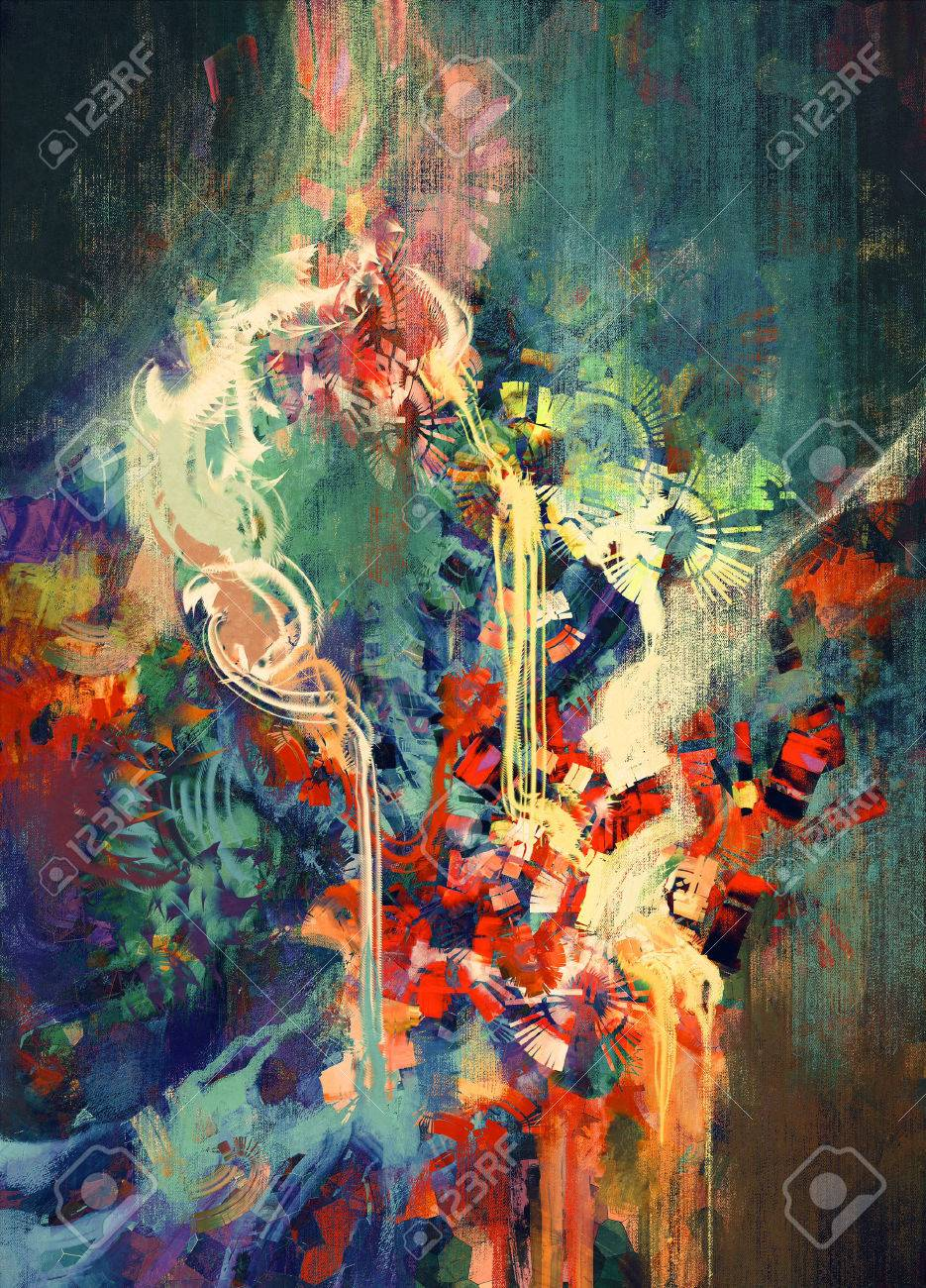 abstract colorful painting,melted coloring elements Stock Photo - 43033369