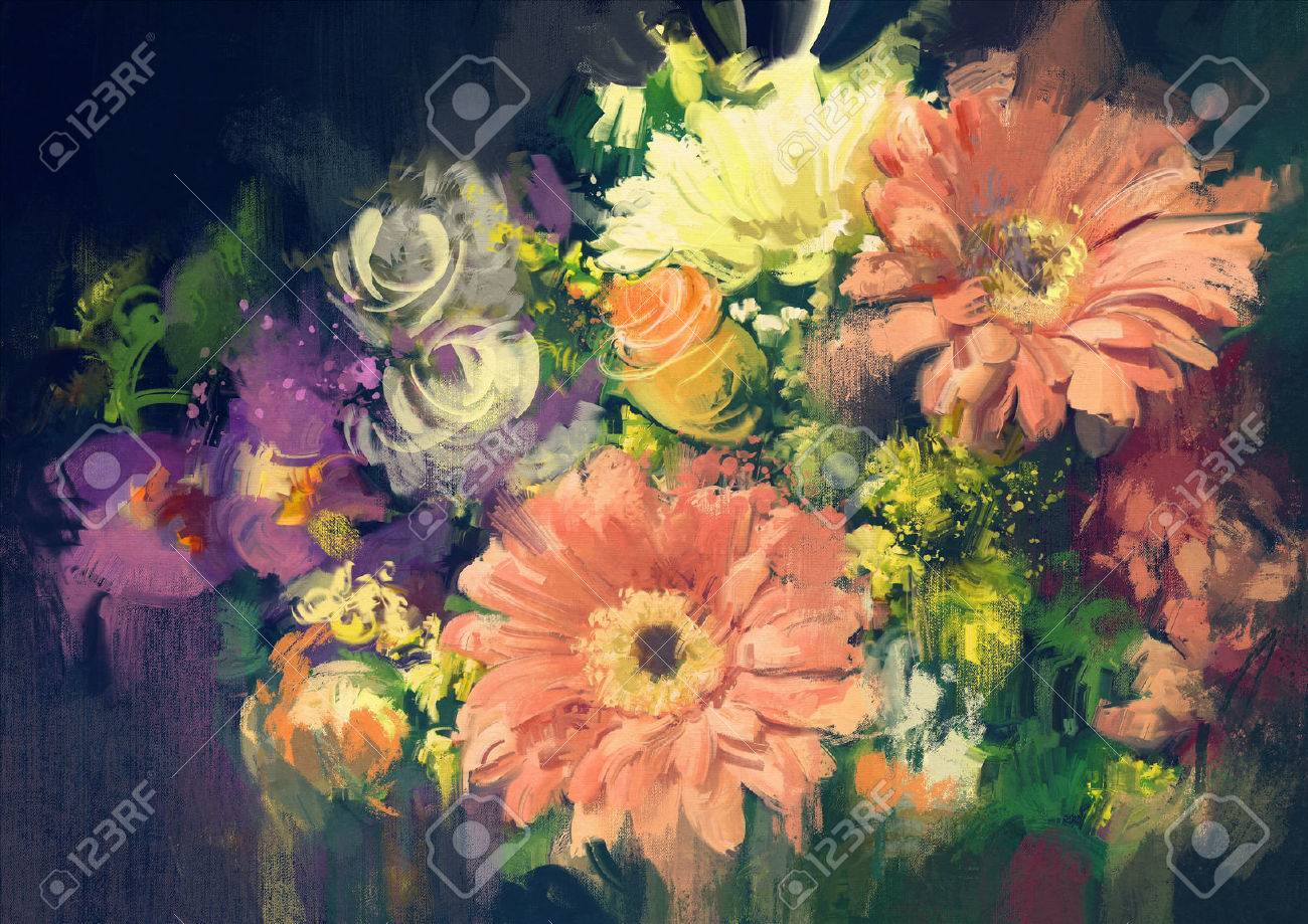 Bouquet Flowers In Oil Painting Style,illustration Stock Photo ...