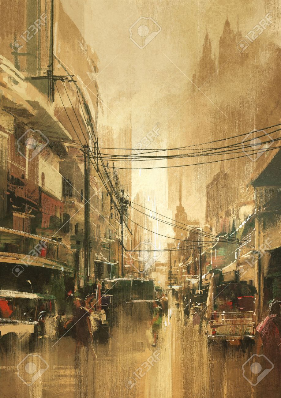 painting of city street view in vintage retro style Stock Photo - 43033373