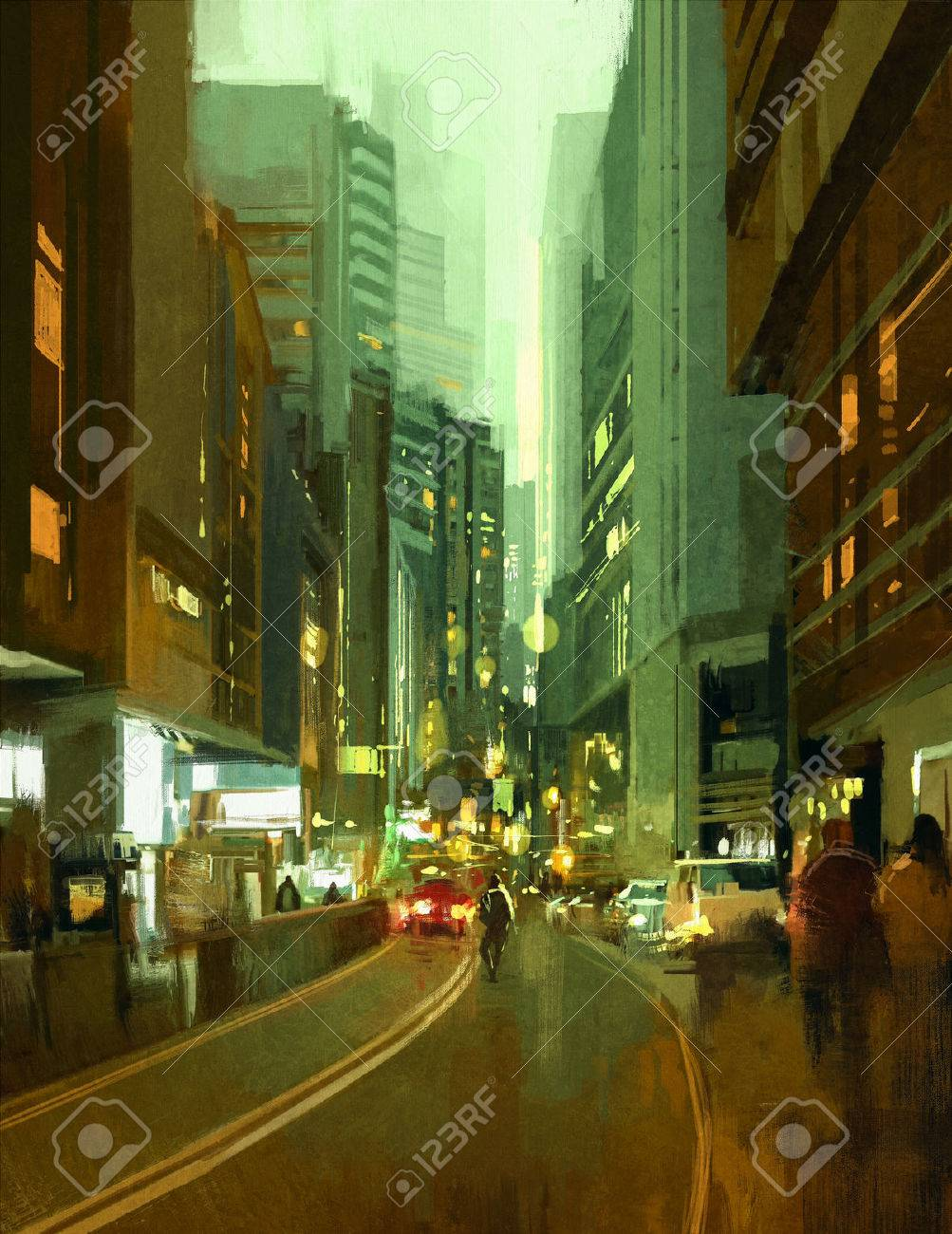 painting of street in modern urban city at evening Stock Photo - 43033394