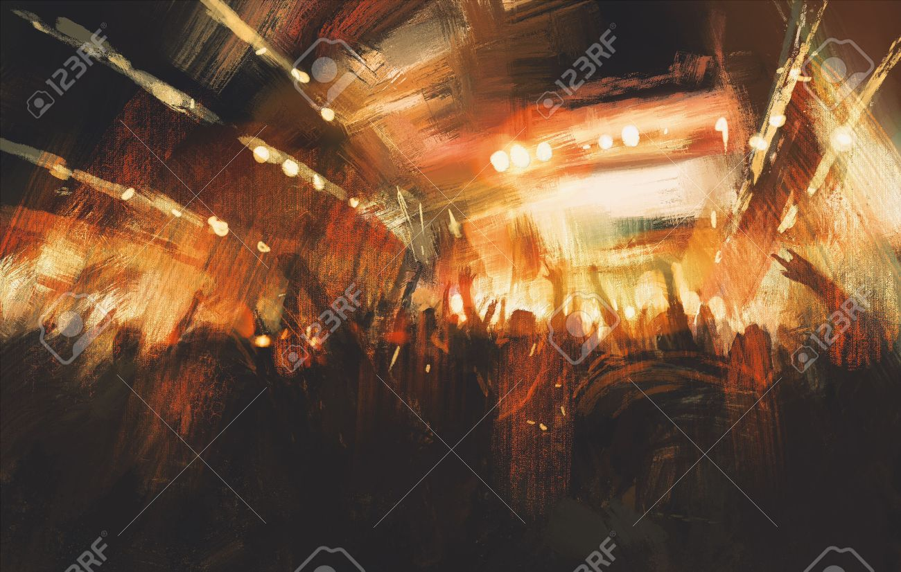 digital painting showing cheering crowd at concert Stock Photo - 43033403
