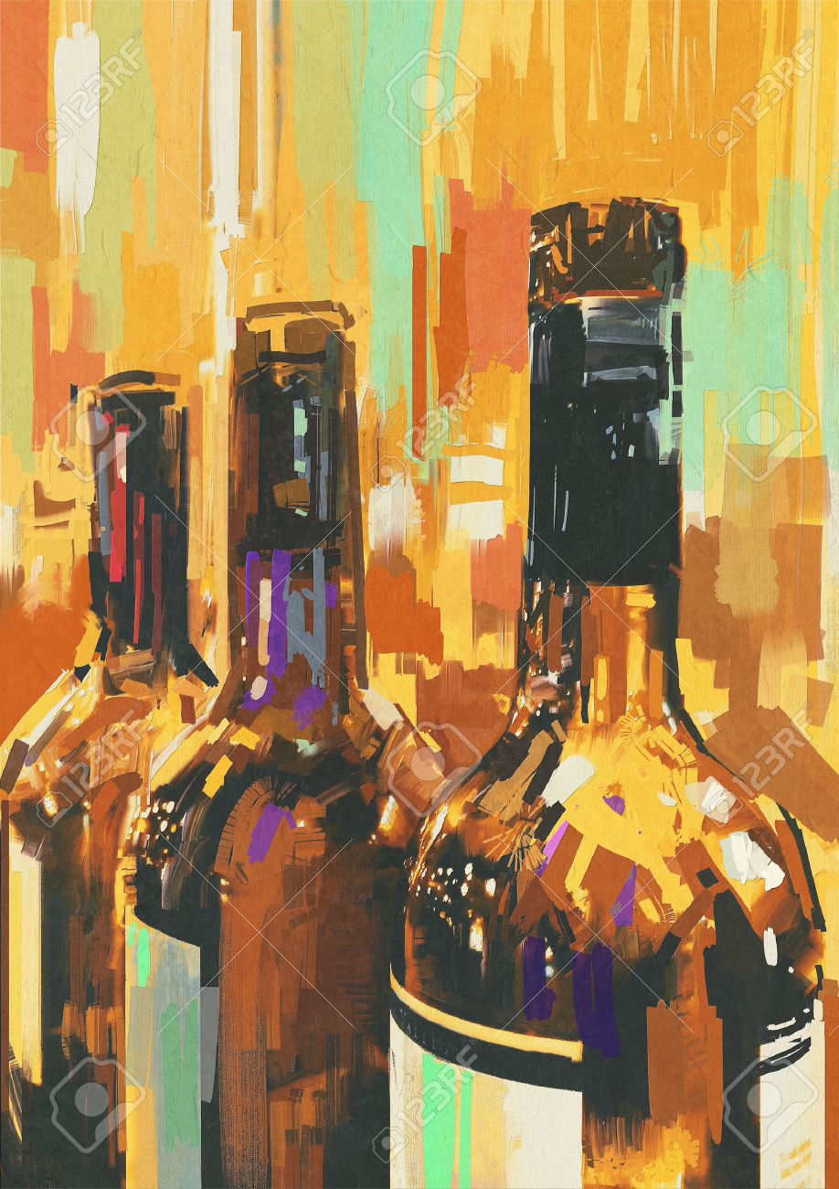 Colorful Painting With Bottle Of Wine,illustration Stock Illustration    43647008