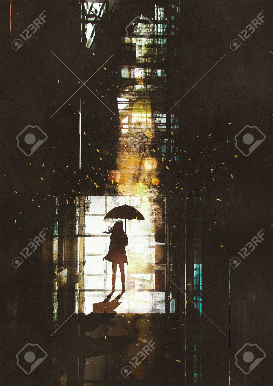 silhouette of woman with umbrella standing at window with bright light from outside,illustration painting Stock Illustration - 43777014