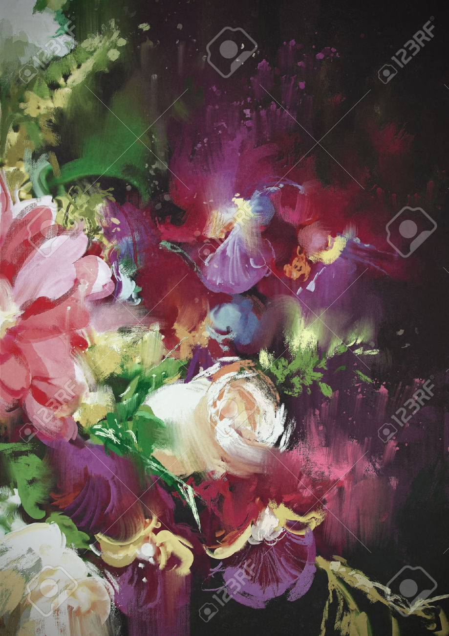 Bouquet Flowers On Dark Background In Oil Painting Style