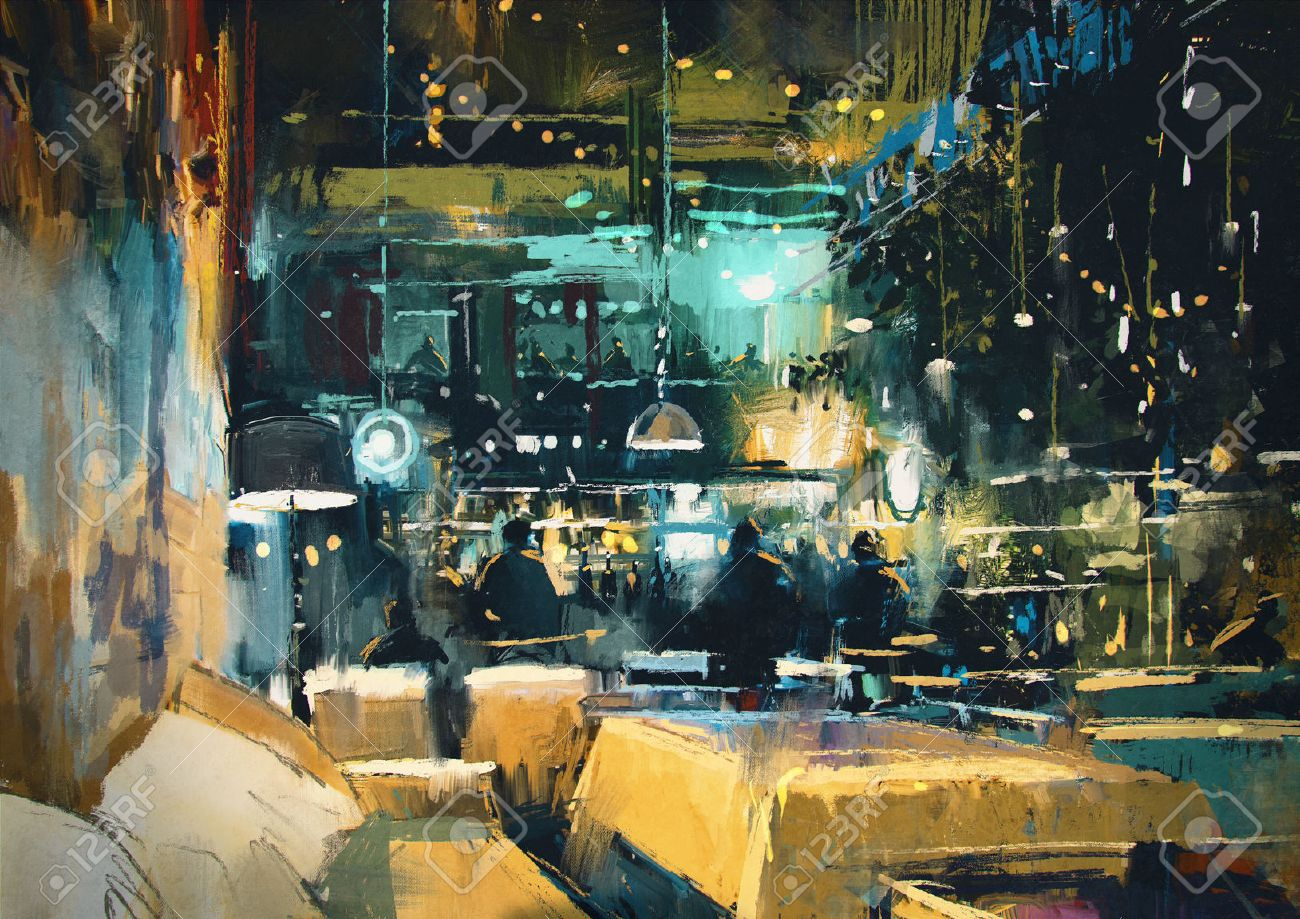 painting showing colorful interior of bar and restaurant at night Stock Photo - 44245764