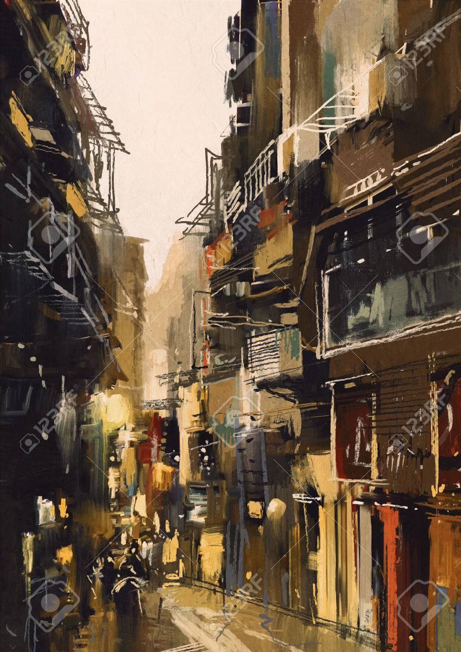古い建物で都市景観絵画を示す狭い路地
