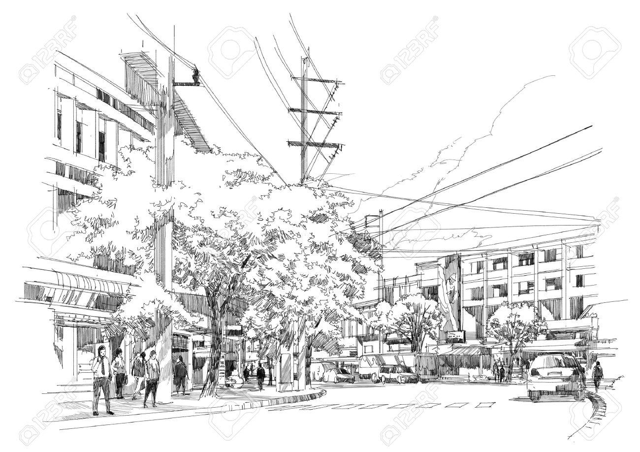 sketch drawing of city street.Illustration. Stock Illustration - 44390304