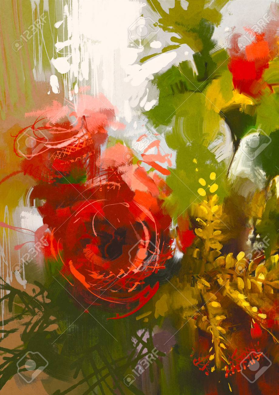 Bouquet of red roses in oil painting styleillustration stock photo bouquet of red roses in oil painting styleillustration stock illustration 44399423 izmirmasajfo