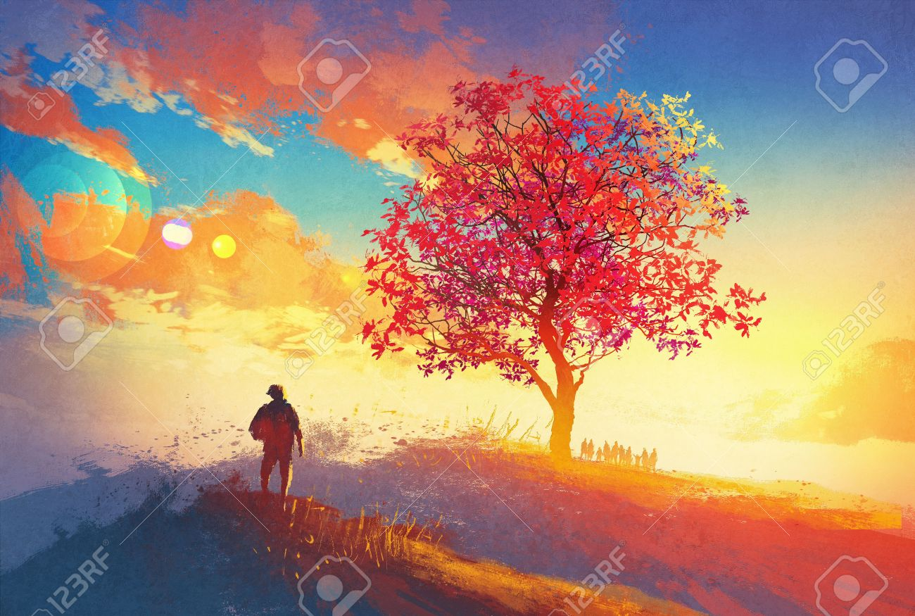 autumn landscape with alone tree on mountain,coming home concept,illustration painting Stock Illustration - 44954070