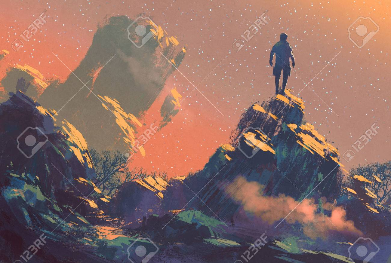 man standing on top of the hill watching the stars,illustration painting Stock Illustration - 44954071