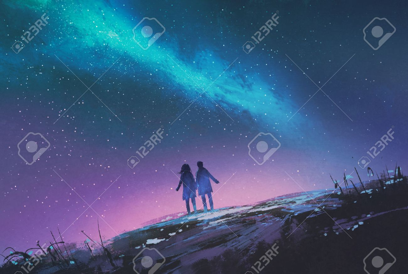 young couple standing holding hands against the Milky Way galaxy,illustration painting Stock Illustration - 44954074