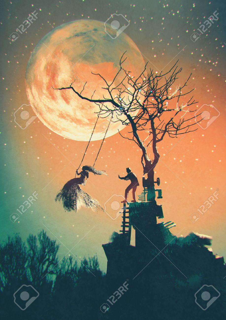 Halloween night background with man pushing woman on swing Stock Photo - 44954075