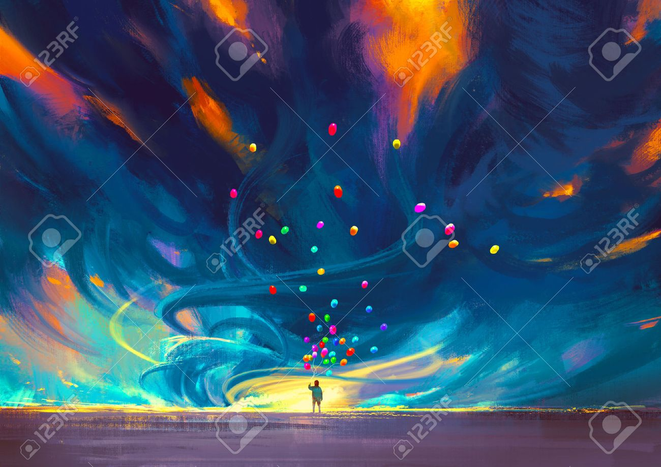 child holding balloons standing in front of fantasy storm,illustration painting Stock Illustration - 44954076