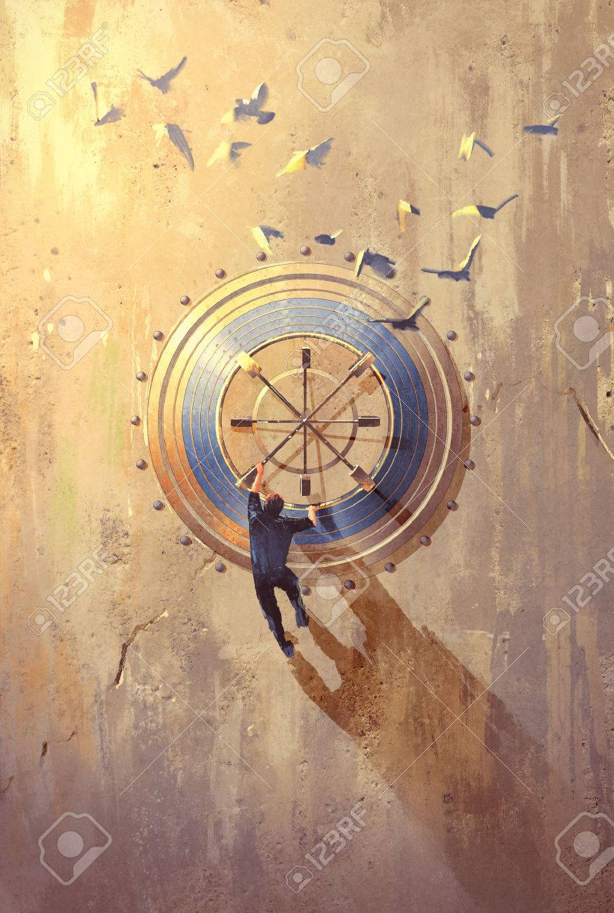 man climbing on stone wall trying to open safe,illustration painting Stock Illustration - 45175401