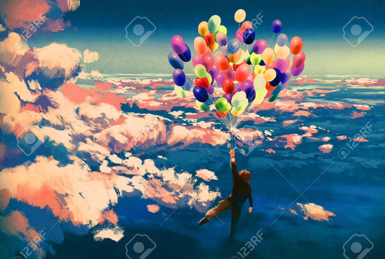 man flying with colorful balloons in beautiful cloudy sky,illustration painting Stock Illustration - 45175404