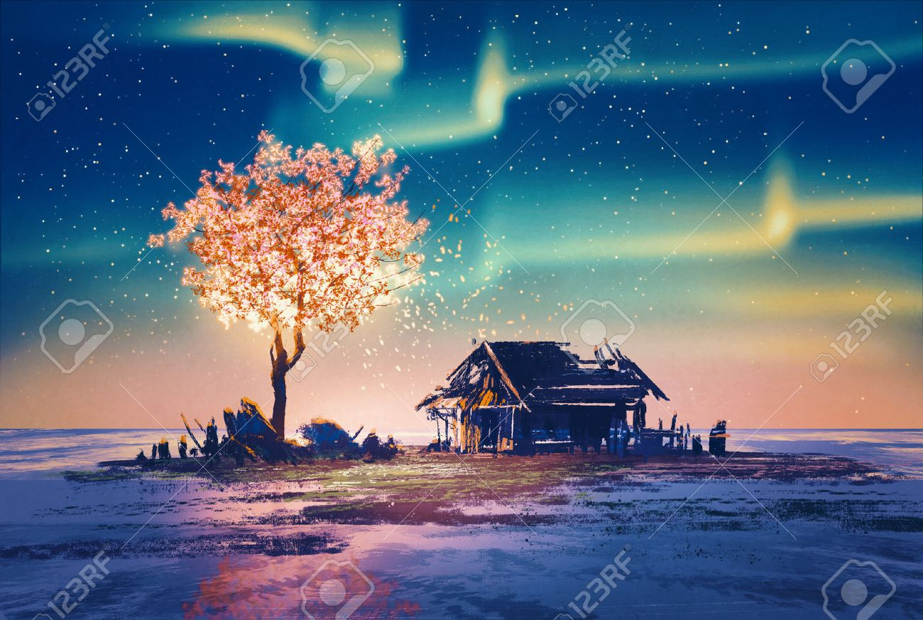 Abandoned House And Fantasy Tree Lights Under Northern Lights,illustration  Painting Stock Illustration   45175428