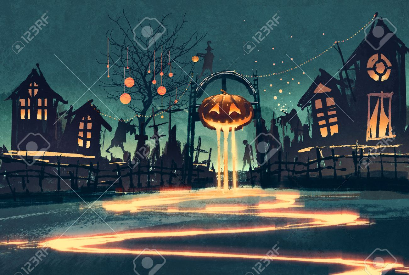 Halloween night with pumpkin and haunted houses,illustration painting Stock Illustration - 45580087