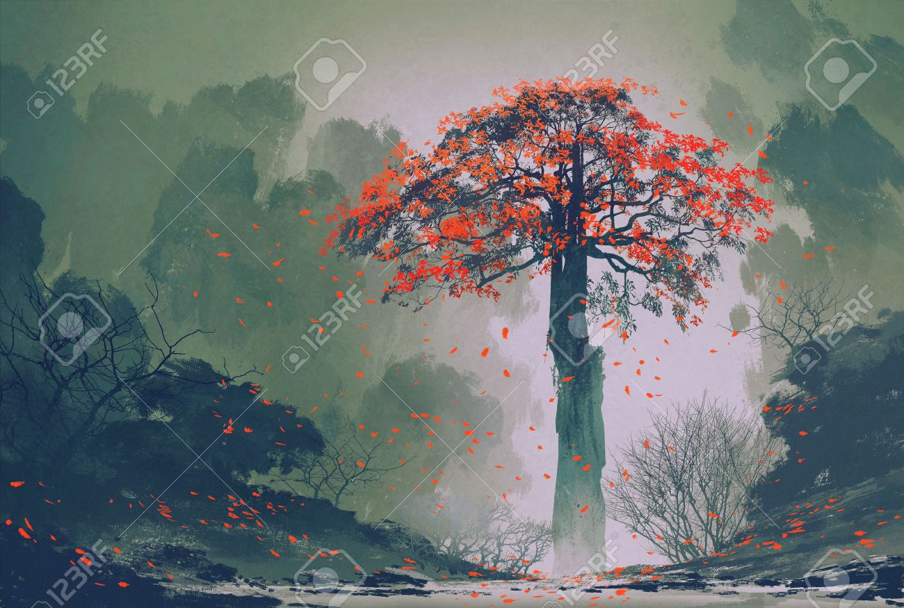 lonely red autumn tree with falling leaves in winter forest,landscape painting Stock Photo - 45580089
