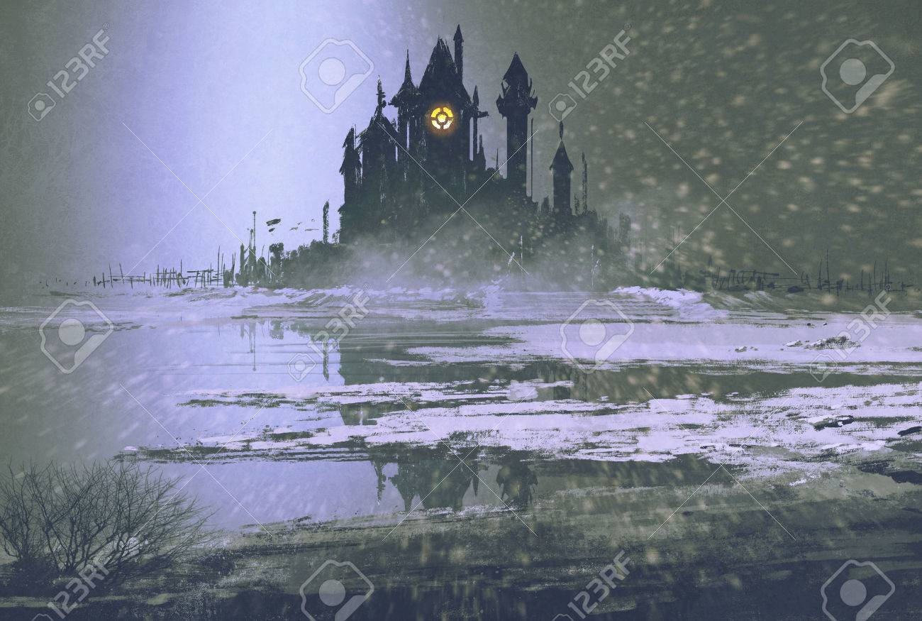 castle silhouette in winter at night,illustration painting Stock Illustration - 45580093