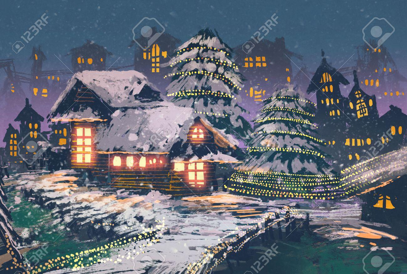 Weihnachten Nacht Szene Der Holzhäuser Mit Weihnachtsbeleuchtung ...