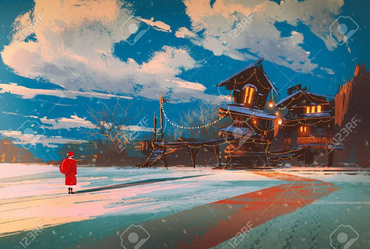 Paysage Dhiver Avec Maison En Bois Dans La Nuit De Noël
