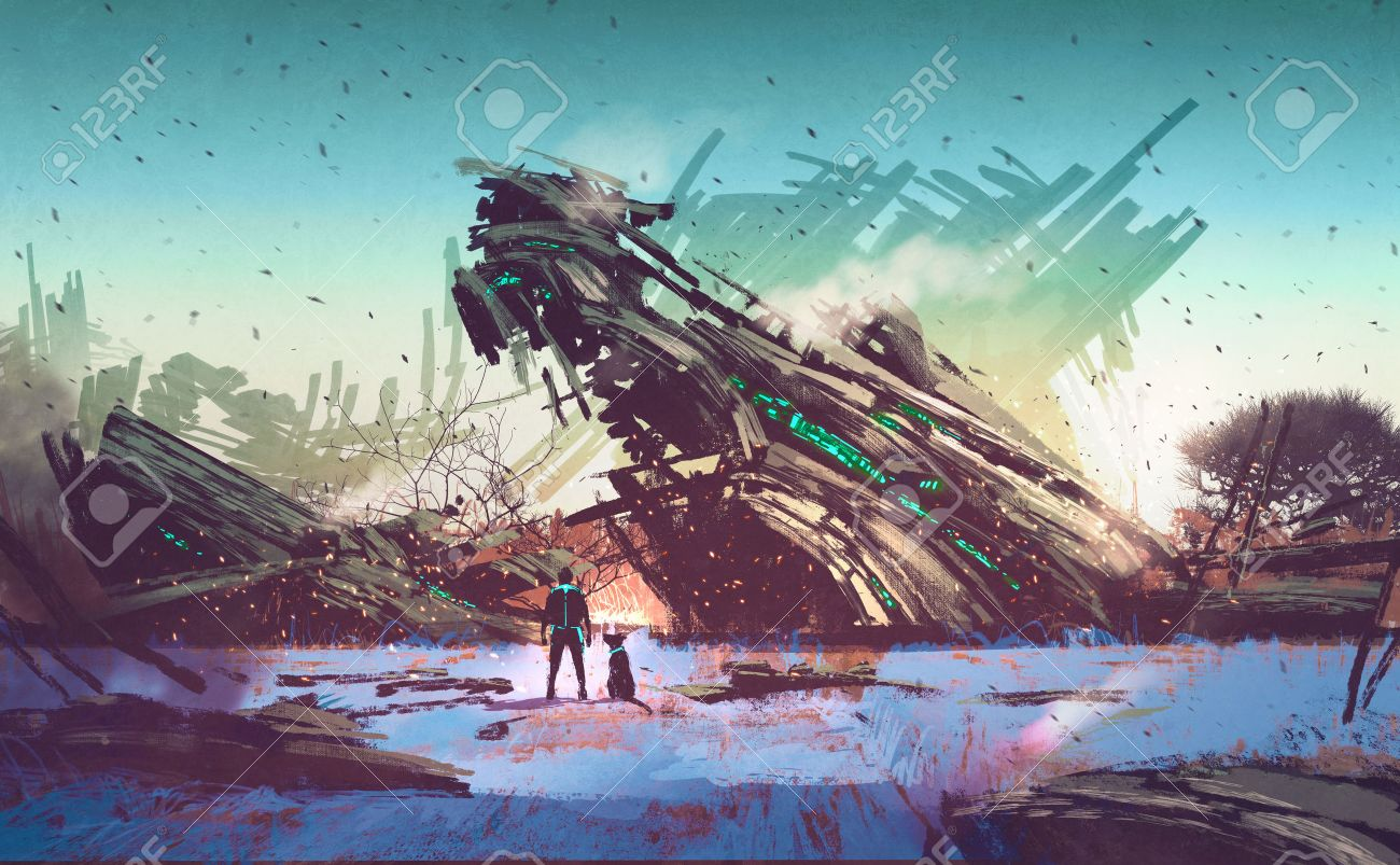 spaceship crashed on blue field,illustration painting Stock Illustration - 46076352