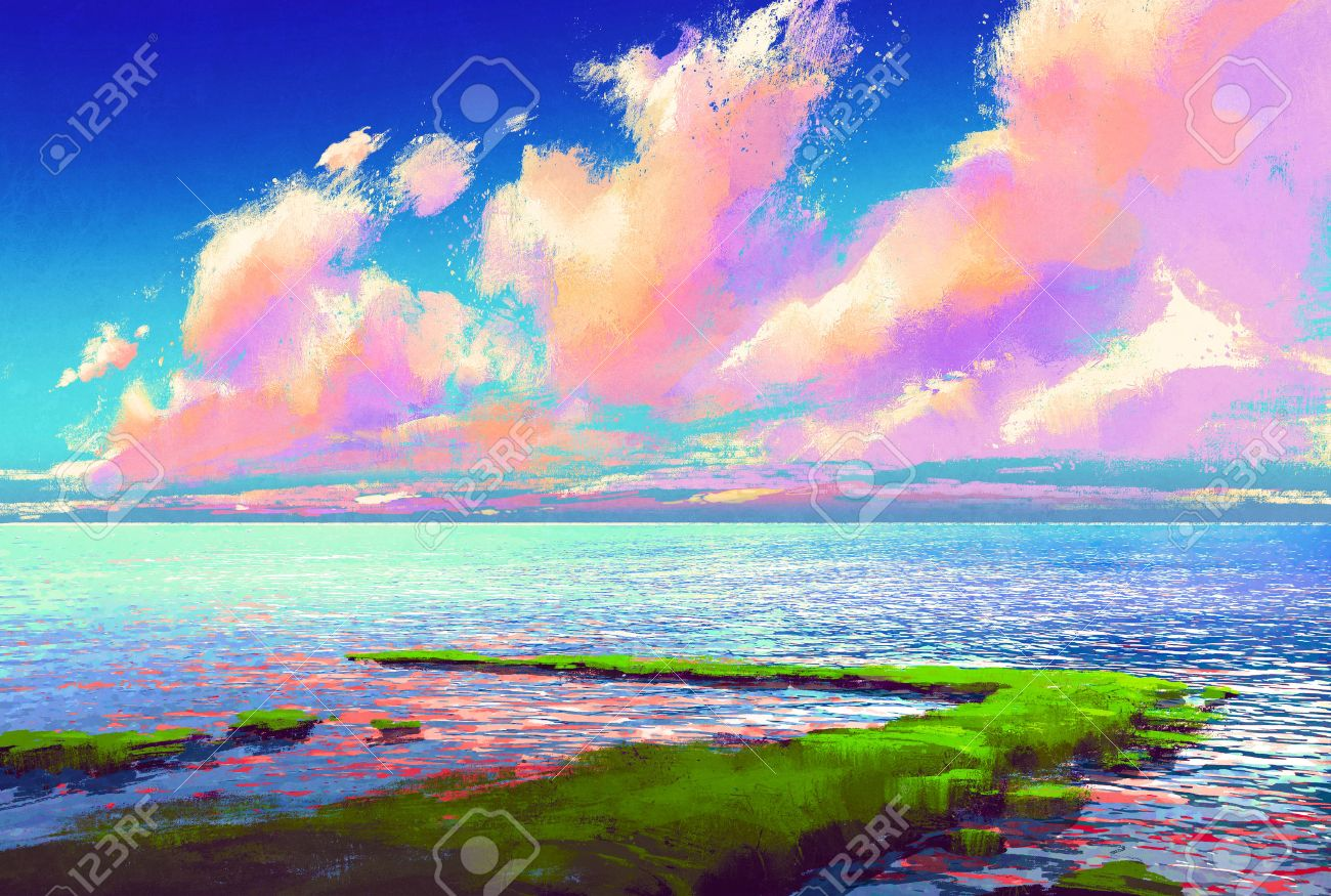 beautiful sea under colorful sky,landscape painting Stock Photo - 46375083