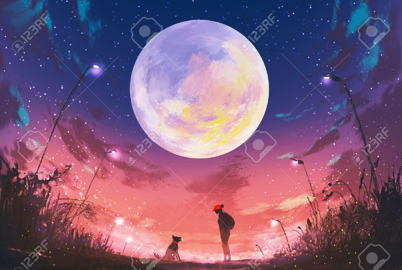 young woman with dog at beautiful night with huge moon above,illustration painting Stock Illustration - 46375084