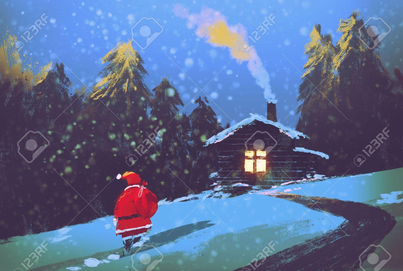Paysage Dhiver Avec Le Père Noël Et De Maison En Bois Dans La Nuit