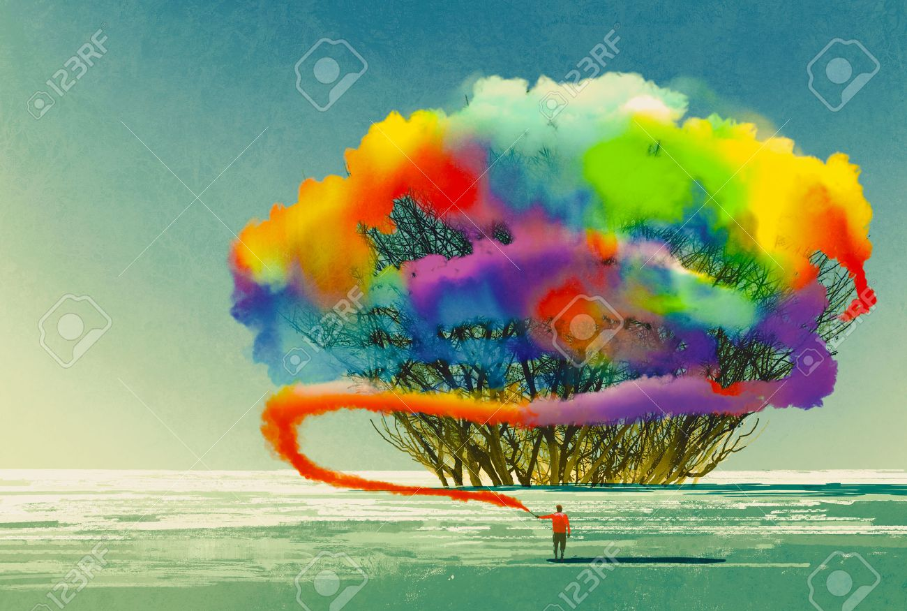 Man Draws Abstract Tree With Colorful Smoke Flare,illustration ...