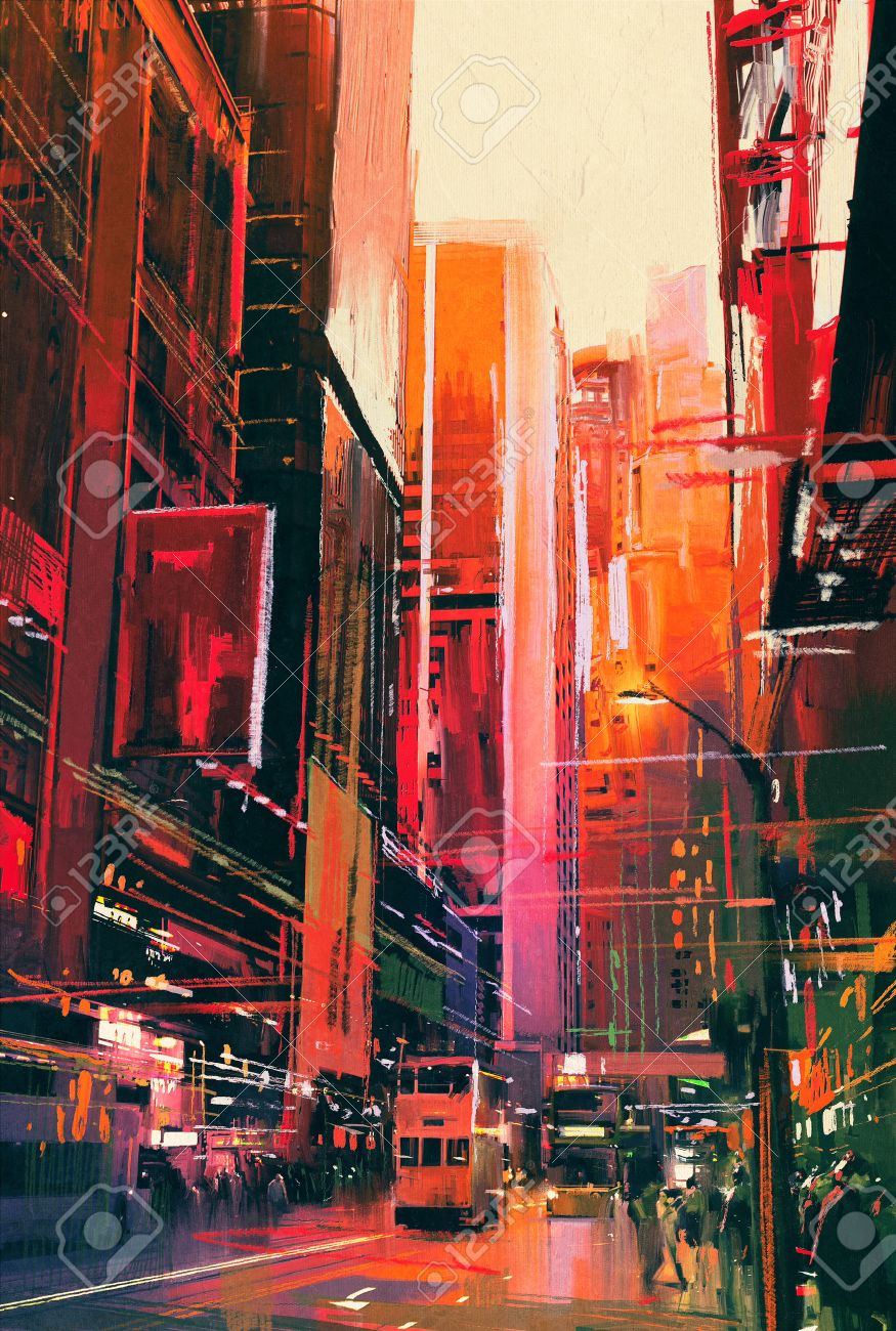 Colorful Painting Of City Street With Office Buildings,illustration Stock  Illustration   46907286